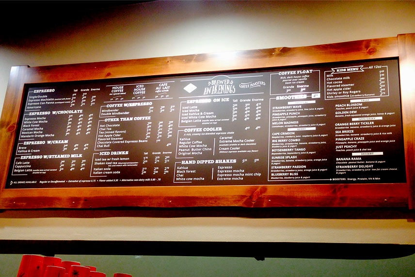 sunriver, oregon coffee shop menu
